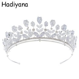 green crown tiara UK - wholesale Fashion Bride Tiaras And Crowns Shiny Cubic Zirconia Exquisite Large Drops Princess Bridal Wedding Crown Copper HG6099