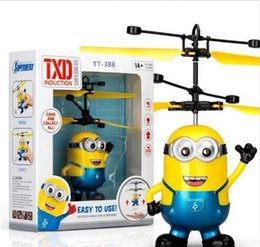 wholesale toys helicopter NZ - Brand RC helicopter Drone kids toys Flying Ball Aircraft Led Flashing Light Up Toy Induction Electric sensor for Children