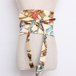 Mujeres de la moda de impresión de satén Cummerbunds mujer Vestido Corsés Cinturones Cinturones arco decoración ancho cinturón R1320