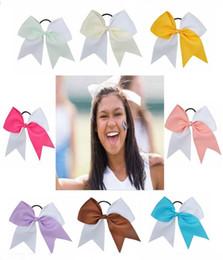 $enCountryForm.capitalKeyWord Australia - 12pcs lot 2019 Hot Sale 7 Inches Woman Girls Hair Bow Elastic Hairband Ties Cheer Bows Ribbon Hair Gum