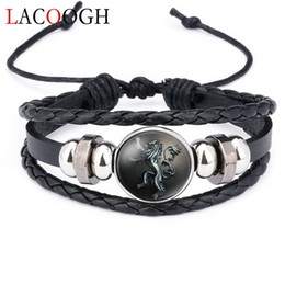 multiple women bracelet Canada - 10pcs Lacoogh New Ethnic Brown Retro Leather Bracelets For Women Game Of Thrones Multiple Layers Badge Charms Men Bangles Fashion C19041203