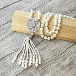pearl beads necklaces wholesale Canada - Flower shape charm Pendant CZ Micro pave Connector,Natural Shell Pearl Beads Chain tassels Women Jewelry Necklace NK506