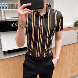 streetwear clothing NZ - 2020 Fashion Men's Shirt Casual Business Stripe Shirts Slim Fit Dress Shirts Summer streetwear Men Clothing Camisas Para Hombre