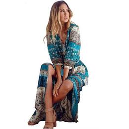 $enCountryForm.capitalKeyWord Australia - Vestidos Hippie Boho Dress Robe Women Bohemia V-neck Three Quarter Sleeve Floral Print Ethnic Beach Long Sexy Dress S6923 designer clothes