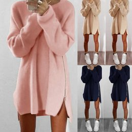 Wholesale puff o plus for sale - Group buy Autumn Winter Women Dress Fashion Loose Casual Mini Plus Size Sexy O Neck Side Zippers Office Dresses Vestidos De Festa
