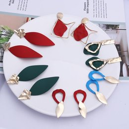 $enCountryForm.capitalKeyWord Australia - Big Gold Drop Statement Earrings Red Green Korean Fashion Vintage Geometric Metal Dangle Earrings for Women 2019 Jewelry