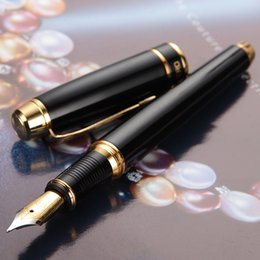 Metal Fines Australia - Hero Gift Fashion Fountain Pen Metal Brushed Luxury Black Color Business Office Student Writing Ink Pen Iraurita Fine 0.5mm