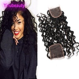 Wavy Hair Middle Part Australia - Brazilian Virgin Hair 4X4 Lace Closure Water Wave Middle Three Free Part Human Hair 4X4 Closure Wet And Wavy 8-20inch
