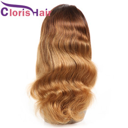 27 braiding hair 2019 - Colored Wavy Blonde Ombre Human Hair Wigs For Black Women Pre Plucked Peruvian Body Wave Full Lace Wig Cheap T4 27 Braid