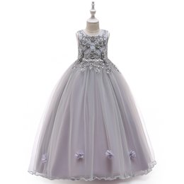 ruffle tutus UK - Embroidered Flower Beaded Girls prom dresses With Bow Kids Ruffle Tulle Lovely Long princess Boll Gown Formal Full Party Wedding Dress