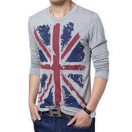 Wholesale Pop2019 Charm England Style Printing Britain Flag Pure Cotton Long Sleeve Hugh Idle T Pity Man Body building Rendering Unlined Upper Garment
