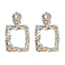Großhandel Neue Ankunft Strass Buchstaben Marke Designer Ohrringe Frauen Bling Mode Quaste Bolzenohrrings Luxus Creolen Schmuck Geschenk