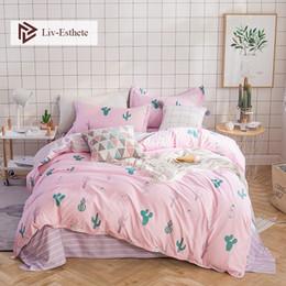 Green Yellow Bedding Australia - Liv-Esthete Fashion Green Cactus Pink Bedding Set Double Queen King Duvet Cover Pillowcase Pink Flat Sheet Bed Linen For Adult