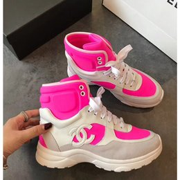 Wholesale Women designer dress shoes Casual Ankle Boots womens Lace up flats high top sneakers splice sports Classic shoes Of Size