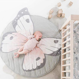 bedding padding Australia - INS New Baby Play Mats Kid Crawling Carpet Floor Rug Baby Bedding Butterfly Blanket Cotton Game Pad Children Room 90 X 90cm