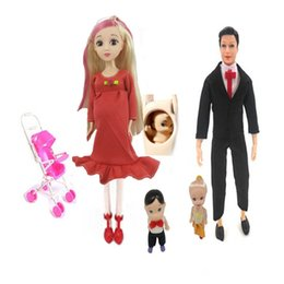 little people toys 2019 - wholesale Family 5 People Dolls Suits 1 Mother   Father 1 2 Little Kelly Girl   1 Baby Son   1 Baby Carriage Royal Pregn