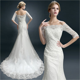 sexy long tail wedding dresses 2019 - New Winter Word Shoulder Bridal Tail Wedding Dresses Sleeves Lace Decals Beaded Tail Small Trailing Style Mermaid Church