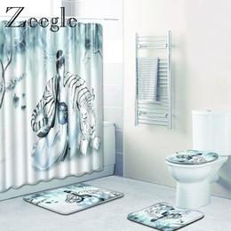 $enCountryForm.capitalKeyWord Australia - Zeegle Tiger Printed Bathroom Bath Mats with Shower Curtain Non Slip Shower Room Bath Carpet Toilet Floor Mat Bathroom Rugs