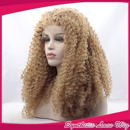 Discount blonde afro wigs - Afro Kinky Curly Blonde Synthetic Lace Front Wig Fashion Women's Wigs Heat Resistant Synthetic Curly Hair Wigs 27#