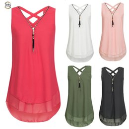 zipper tanks Australia - Loose Women Sleeveless Tank Top Cross Back Hem Layed Zipper V-neck T Shirts Tops Cc# drop shipping