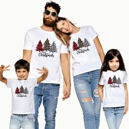 Wholesale t shirt dad for sale – custom Christmas Tree Print Family Matching Clothes Daddy And Me Outfits Father Son Dad Baby Boy Kids Family T Shirt
