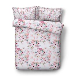 Comforters Flower Print Australia - Pink Flamingo Flower Printed Bedding Set With 2 Pillow Shams Duvet Cover For Kids Girls Boys Women Tropical Floral Comforter Cover Zipper