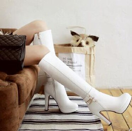 white stiletto snow boots NZ - New Arrival Hot Sale Specials Super Fashion Influx Martin Plus Velvet Cotton Female Buckle Diamond Leather Stiletto Heels Boots EU33-43