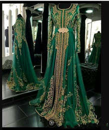 fashion turkish dresses Canada - New Emerald Green Muslim Formal Evening Dresses Wear Long Sleeves Abaya Designs Dubai Turkish Prom Evening Party Gowns Cheap Moroccan Kaftan