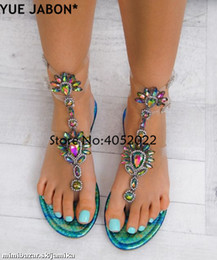 rhinestone gladiator flip flop NZ - 2019 Woman Sandals Women Shoes Rhinestones Gladiator Flat Sandals Crystal Chaussure Plus Size 43 tenis feminino Green Flip Flops CJ191128