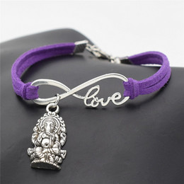 $enCountryForm.capitalKeyWord NZ - Hot Antique Silver Infinity love Meditation Elephant Religion Thailand Ganesha Buddha Bracelet Bangles With Purple Leather Rope Cuff Jewelry