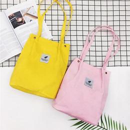 Wool Cloth Soft Australia - Women Reusable Corduroy Canvas Tote Ladies Casual Shoulder Bag Foldable Shopping Bags Beach Bag Female Cotton Cloth Handbag #44443