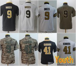 1c5f56082 Youth New Orleans Jerseys 9 Drew Brees Saints 41 Alvin Kamara Black White  Salute to Service Limited Stitched Kids Size S-XL