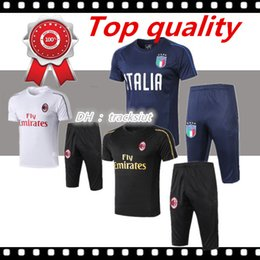 aa89dbaef 2019 Survetement football AC Milan cavani short sleeve Italy 3 4 pants  training suit kits Maillot de foot mens tracksuits soccer sets