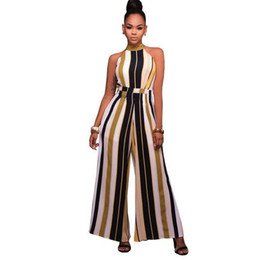 Halter Neck Jumpsuits For Women Australia - Jumpsuits Long Wide Leg Pants For Women 2019 Halter Neck Sleeveless Boho Playsuit Sexy Club Rompers Overalls WF413