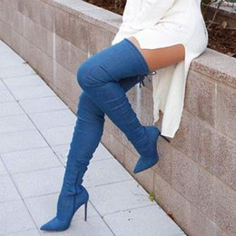 ee6f6ffcf8e New Denim Navy Blue Crotch Thigh High Boots Pointed Toe Zipper Cowboy Boots  Women Sexy Ladies Party Dress Hig Heels Shoes Women