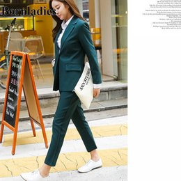 korean office suits Canada - Bornladies Green Color Black New Arrival Korean 2 Pieces Blazer Suits for Women Office Work Sets Notched Coat