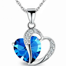 Blue Gemstone Pendant Wholesale Australia - 925 Sterling Silver Plated Blue Crystal Gemstone Amethyst Heart Pendant Necklace Gift