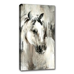 $enCountryForm.capitalKeyWord UK - Handpainted Oil Painting On Canvas Framed Abstract Animal Horse Picture Abstract Wall Art Living Room Children's Bedroom Wall Decor