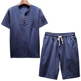 Men White Linen Casual Suits Australia - Litthing Men's Linen Sets Brands O-Neck Solid Short sleeve t shirt shorts Summer Fashion Male Casual Drawsting Suit M-5XL