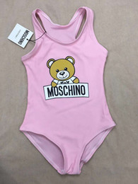 Venta al por mayor de Hot Summer Kids Bear Pattern Swimwear Baby Girls Bikini Swimwear Traje de baño de una pieza Carta Trajes de baño