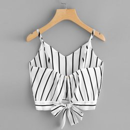 $enCountryForm.capitalKeyWord Australia - New 2019 Arrvial Sexy Women Crop Tops Striped Tie Back Cami Casual Bow Vest Knot Cropped Tank Sexy Top Cropped Feminino