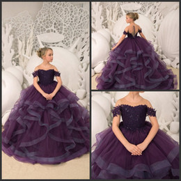 Girl paGeant dresses 14 online shopping - 2019 New Dark Purple flower girl dresses sheer neck a line first holy communion dresses ruffle skirt girl pageant dresses
