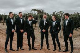 Discount slim fit gray suit - 2019 Slim Fit Groom Mens Tuxedos Black Jackets+Pants Bridegroom Mens Best Mens Wedding Tuxuedos Tailor Custom Made