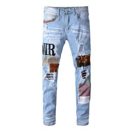 Jeans Mens Hip Hop Calças Stylist Jeans afligido rasgado motociclista Jean Slim Fit Motorcycle Denim Jeans Tamanho 28-40 em Promoção