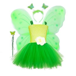 girls butterfly party dress UK - 1 set Green Butterfly Tutu Dress Toddler Girls Birthday Party Dress Halloween Performance Fairy Cosplay Costume for Kid Photosho