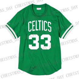 Venta al por mayor de Barato personalizado Larry Bird Mitchell Ness camisa de malla de los hombres cosida camiseta de verano Retro camiseta de baloncesto