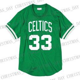 Günstige benutzerdefinierte Larry Bird Mitchell Ness Herren Mesh Jersey Shirt genäht Sommer Tee Retro Basketball Jersey im Angebot