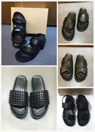 $enCountryForm.capitalKeyWord Australia - 2019 Designer Red Bottom Slippers Mens Black Genuine Leather With Spikes Summer Flip Flops Luxury Sandals Soft Leather Slides US 12