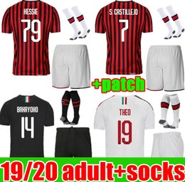 Wholesale 19 20 IBRAHIMOVIC AC milan soccer jersey 2019 2020 PIATEK football shirt PAQUETA BENNACER adult kit men uniform