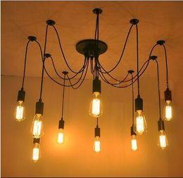 Pendant Light Ceiling Diy Australia - Retro Classic DIY RH Designer Loft American Edison Vintage Ceiling Chandelier Lamp E27 Pendant Spider Lamp Group Home ( Bulbs not Included )